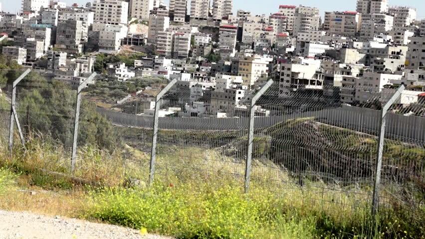 Israeli West Bank barrier- east Jerusalem separation fence - HD stock footage clip