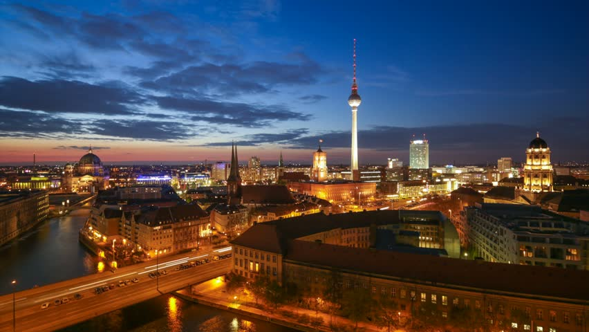 Berlin Skyline Light City Timelapse with Car Traffic and Cloud Dynamic in Full HD 1080p, German Capital - HD stock footage clip