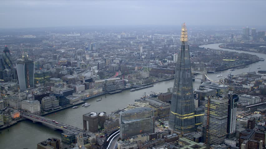 Panoramic aerial shot of central London showing the Shard & the River Thames