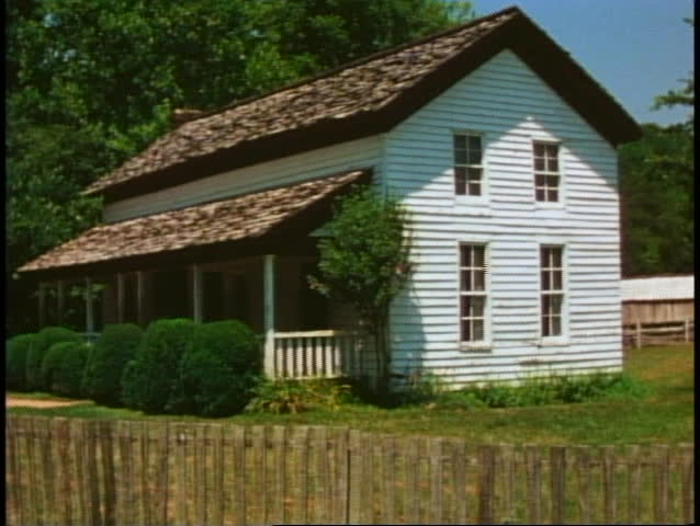 Great Smoky Mountains National Park, old white clapboard house, medium shot