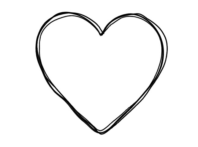 Line Drawing Heart Shape : Black heart shape echoed line art sequence on white stock