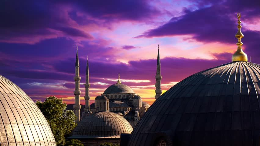 Blue Mosque at dramatic sunset in Istanbul. Timelapse - HD stock video clip