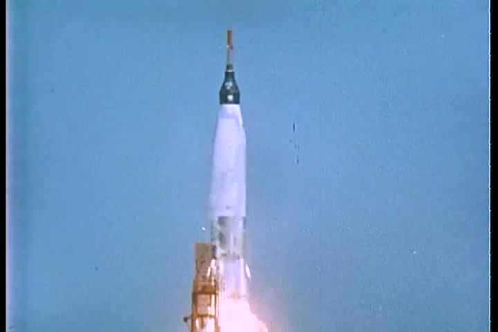 1960s - The dramatic countdown to the launch of the Friendship 7 rocket of the Mercury Project.