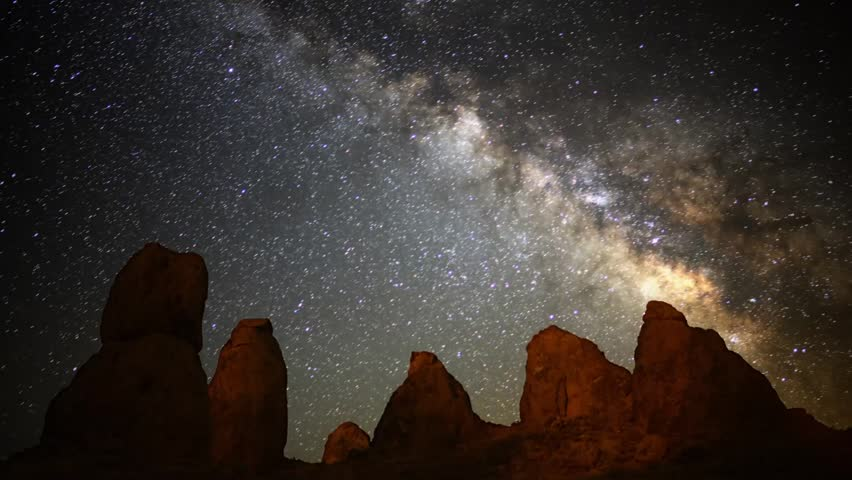 Astrophotography Time Lapse Milky Way over Pinnacles Zoom In