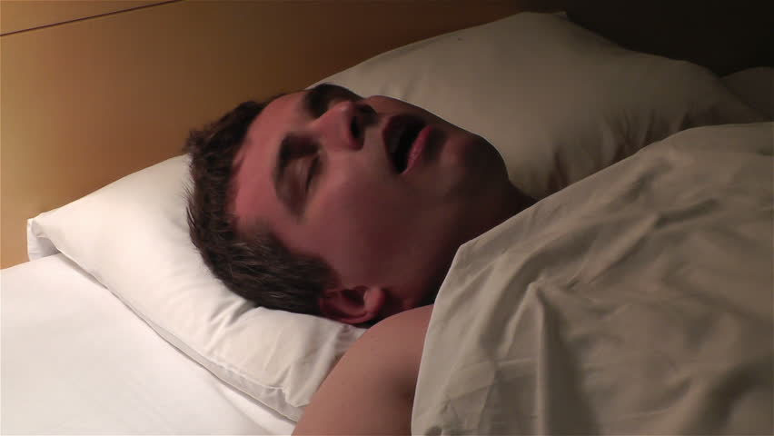 Man Sleeping at Night and snoring - HD stock video clip