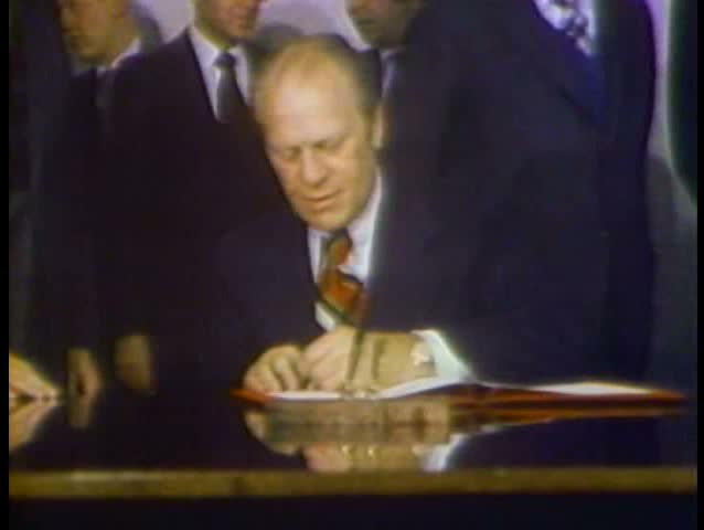 1980s Gerald Ford Signs The Helsinki Accords With Leonid