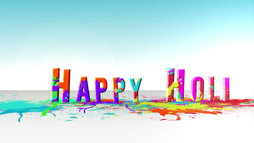 Happy holi message with colourful paint splashes - HD stock video clip
