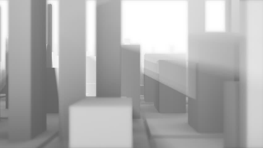 3D model of misty town. Seamless loop. Depth of field