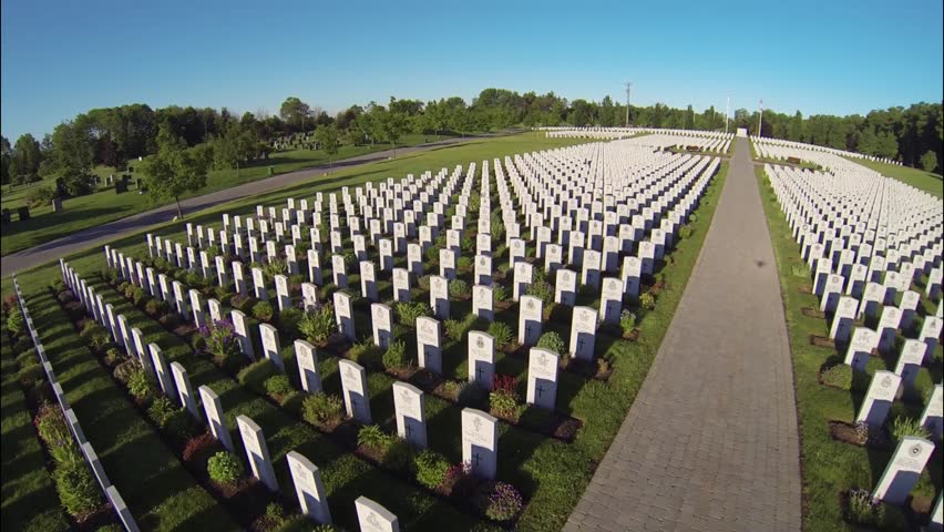 Aerial of Military Cemetery - HD stock footage clip