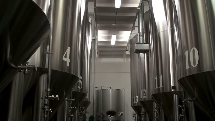 Modern Craft Brewery. Steel fermentation vessels.