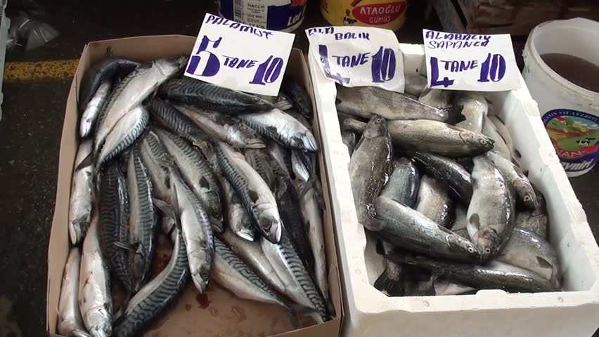 PENDIK, ISTANBUL, TURKEY – April 6, 2013: Farmers' market – trout and mackerel at sale