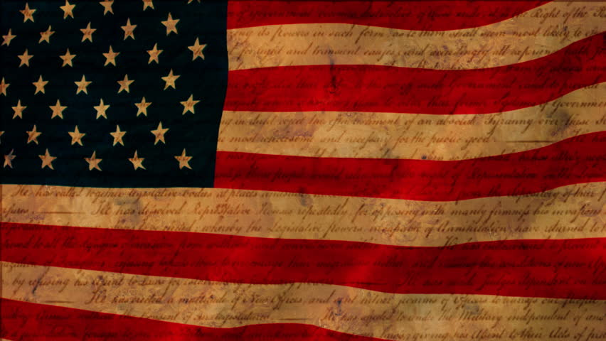 American flag with Declaration of Independence parchment textures. Slow waving loop.