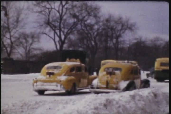 Vintage footage of New York City´s Central Park after a winter storm. Shot on 8mm film during the 1940´s