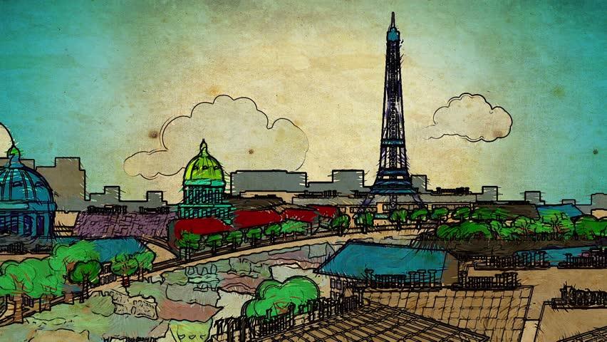 Europa tourism cartoon decorative skyline city capital video background footage - HD stock footage clip