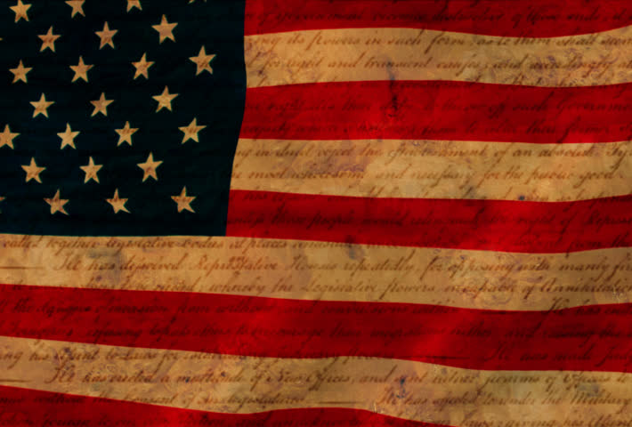 American flag with Declaration of Independence parchment texture. slow waving loop.