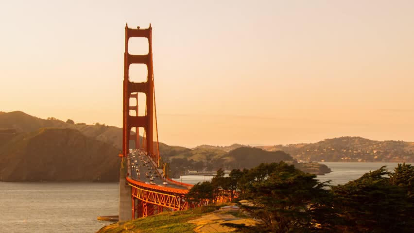Time Lapse Traffic on Golden Gate Bridge in San Francisco by Sunset Time. Photo Sequence shot on DSLR camera