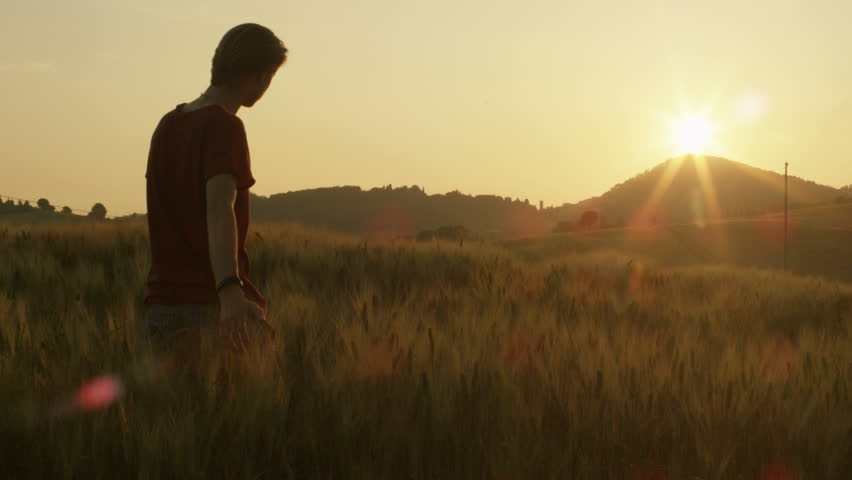 Young Man Walking and Raising Hands in the Wheat Field at Sunset Time