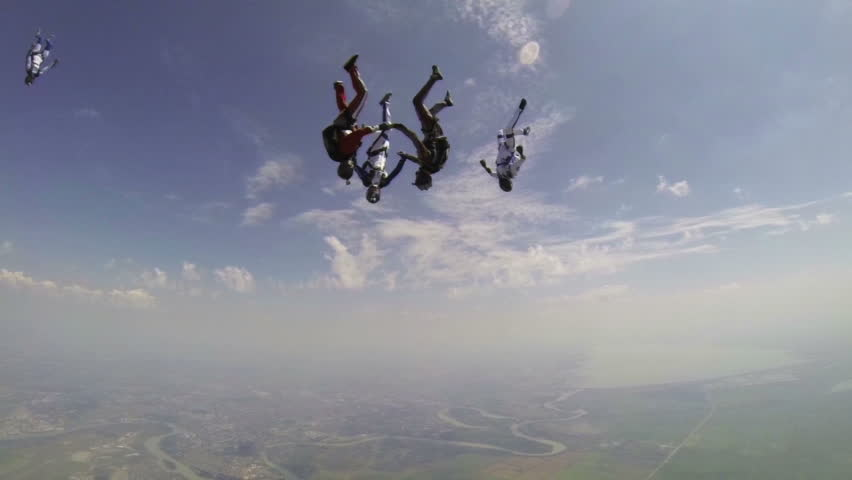 Skydiving video slow motion. - HD stock footage clip