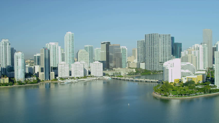 Aerial view luxury hotels and condominiums Brickell Key, Miami Waterfront, Biscayne Bay, Florida, USA - HD stock video clip