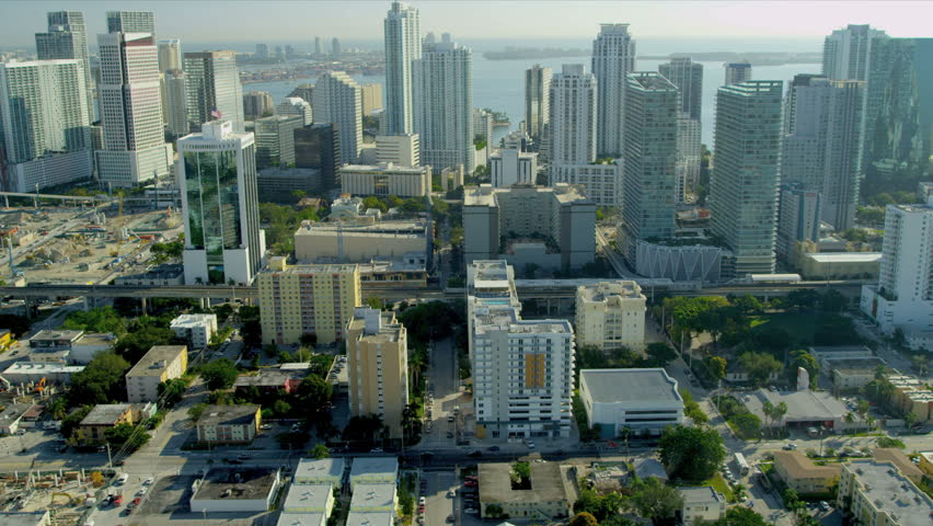 Miami - December 2012: Aerial view across Miami towards Downtown Miami and Financial District, Florida, USA - HD stock footage clip
