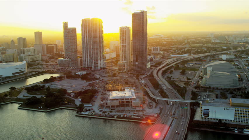 Miami - December 2012: Aerial view American Airlines Arena home to Miami Heat Basketball Team, Miami, Florida, USA - HD stock footage clip