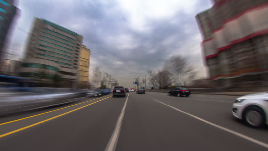 Seoul City Driving 2a) Driving time lapse of a gloomy day in Seoul, Korea. pov - HD stock video clip