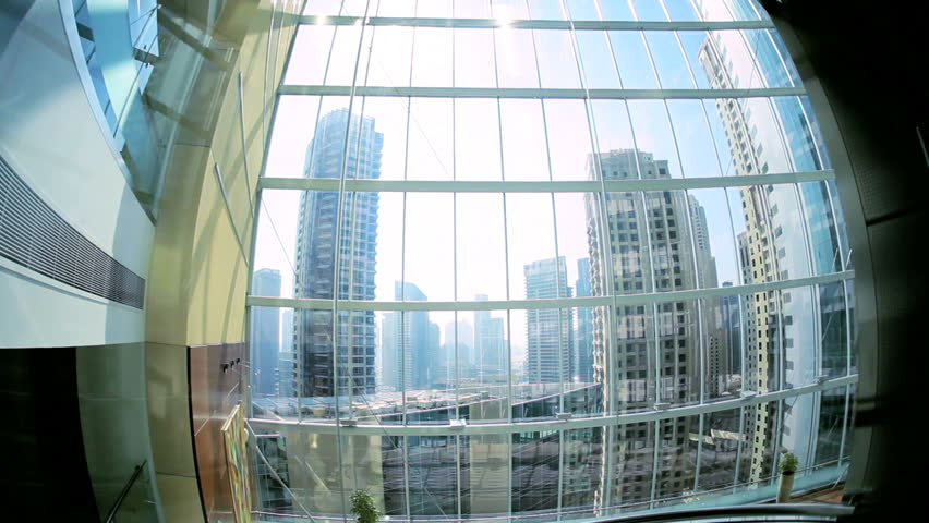 Modern city elevator ascending skyscraper Dubai city centre, UAE, Middle East