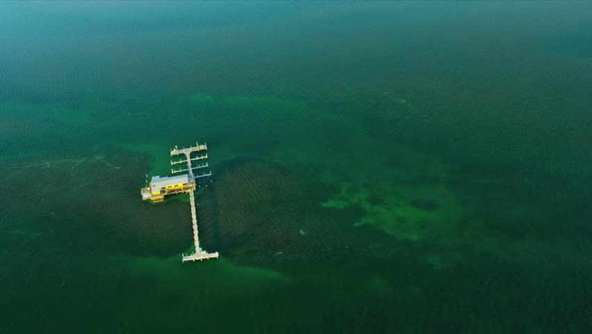 Aerial view Stiltsville small sea community, Biscayne Bay, Florida