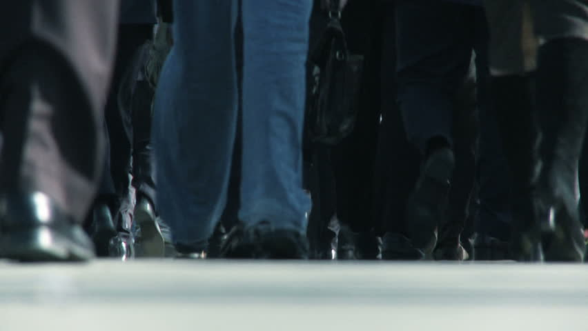 Legs of city commuters in close-up & slow motion - HD stock footage clip