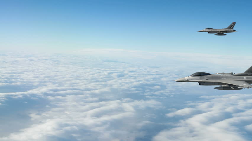 Two F-16s Acrobatic Dive.  F-16 Fighter Jet.  F-16 Fighting Falcon is a U.S. single-engine multirole fighter aircraft.  High-quality production ready 3d animation created in Maya Autodesk.