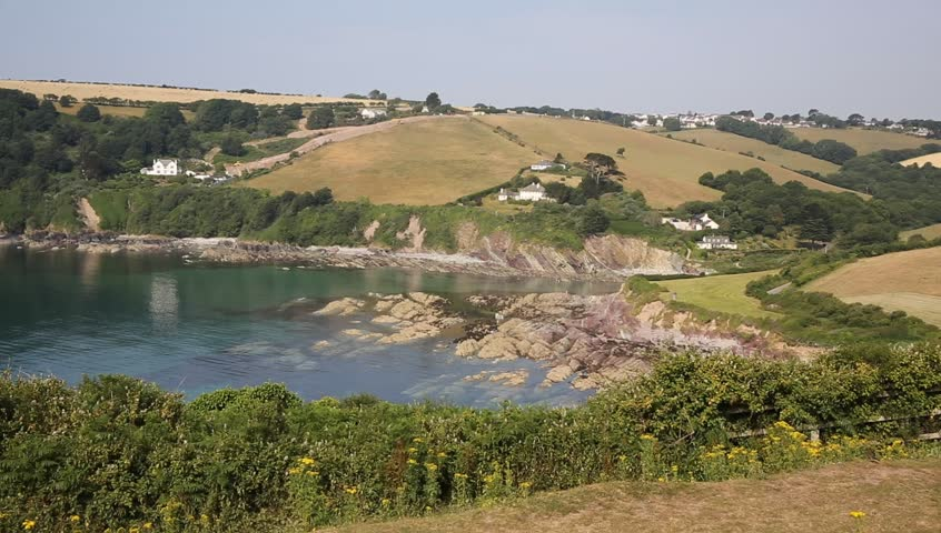 Talland Bay between Looe and Polperro Cornwall England UK on a beautiful sunny day