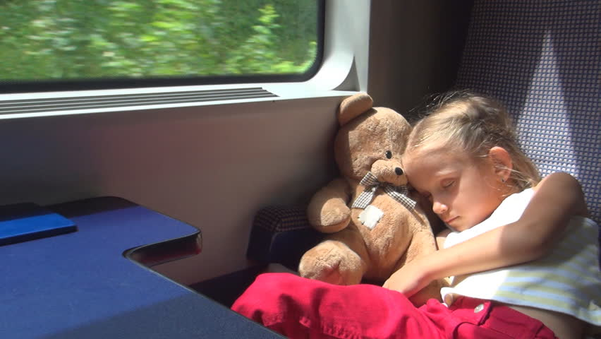 Child, Tourist Traveling by Train, Girl Sleeping with Teddy Bear Toy, Children