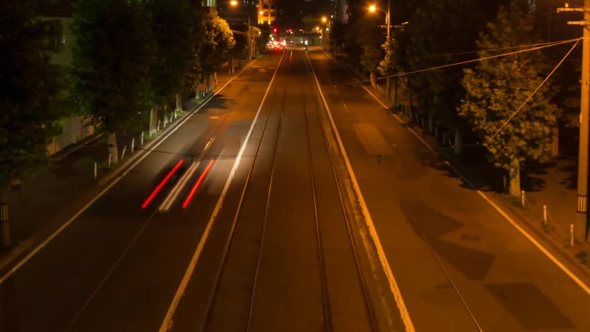 Night Traffic, cars and trams.
