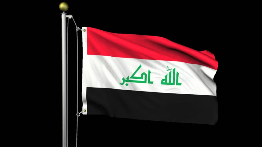Seamless looping high definition video of the Iraqi flag waving on a flag pole with luma matte included.  Flag has an accurate design and a detailed fabric texture with partial transparency.