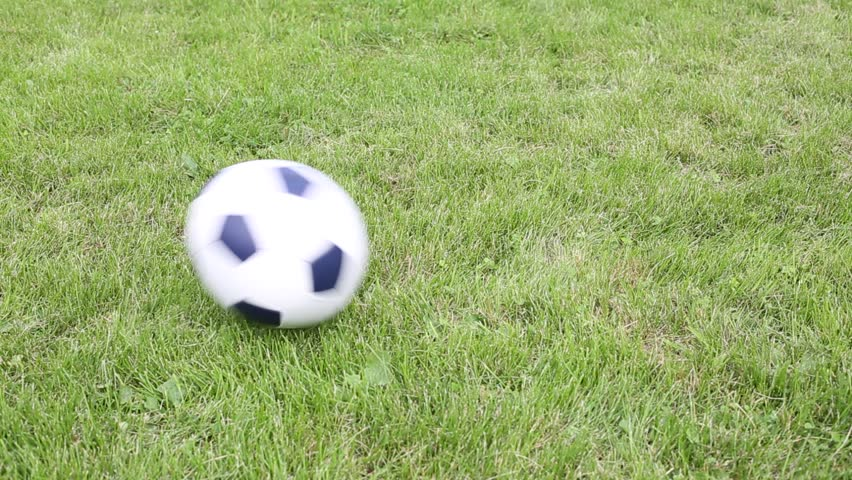 Soccer Ball Rolls Over And Jumps On The Football Natural ... Rolling Soccer Ball