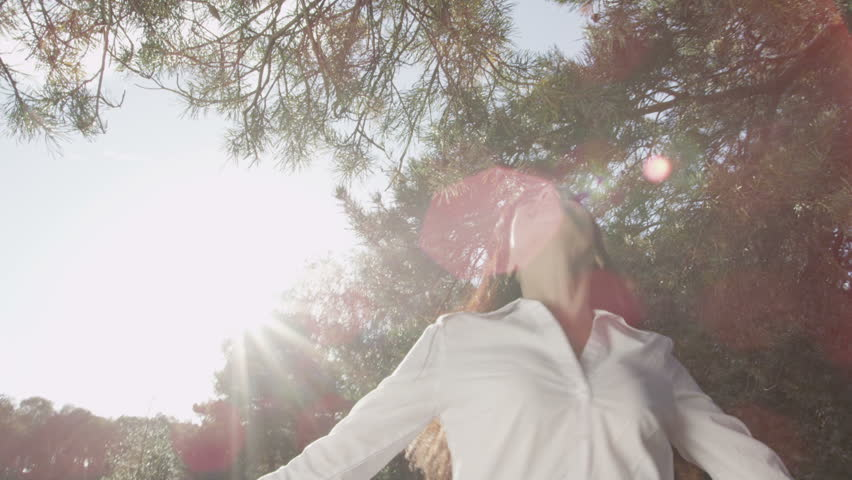 Woman raising arms in nature. Business freedom from the office. Green environmental business Corporate responsibility concept with flare.  - HD stock video clip