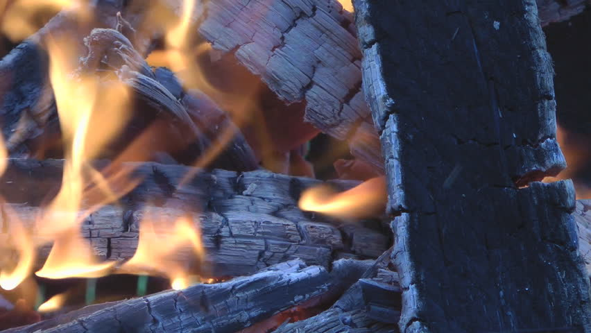 HD close-up background of burning fire wood. - HD stock footage clip