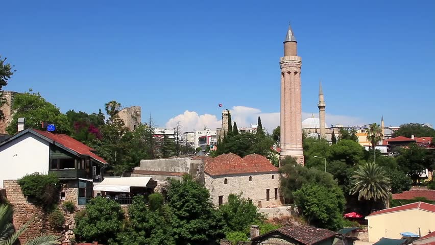 Kaleici - Old Town. Yivli Minaret. Antalya, Turkey Stock Footage Video 457301...