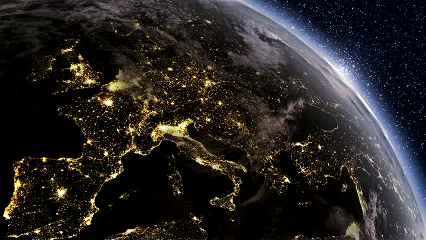 Highly detailed. 3d Render using satellite imagery (NASA).  Planet earth Europe zone with night time and sunrise
