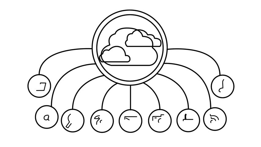 Whiteboard Sketch Of A Cloud Computing Concept. Stock