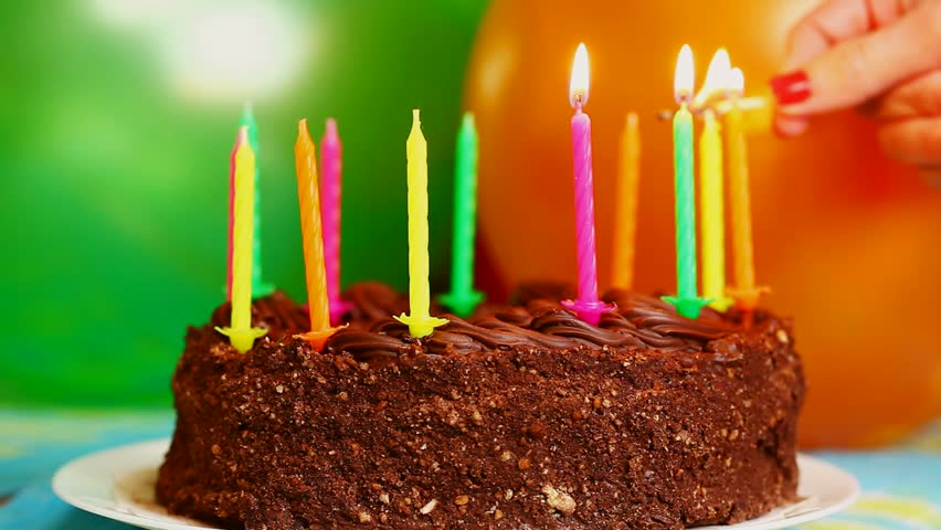 Candles on the birthday cake episode 2 - HD stock footage clip