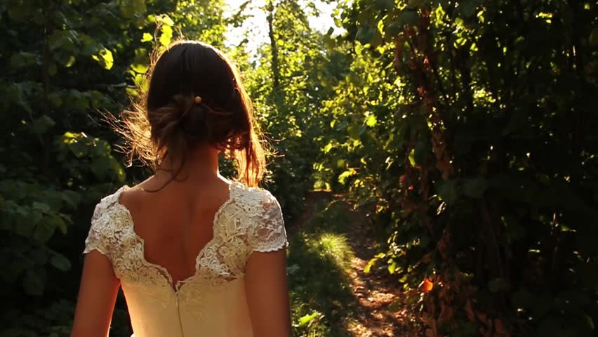Elegant Young Female Model Vintage Dress Walking Forest HD