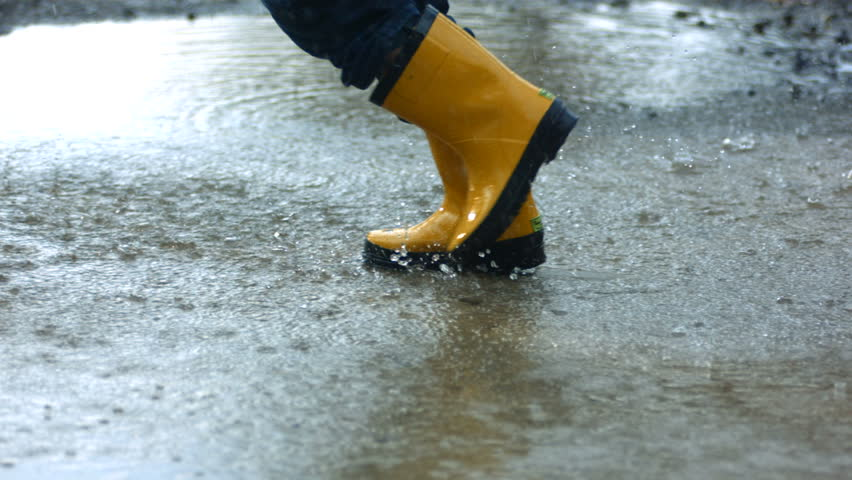 Running through puddles, slow motion