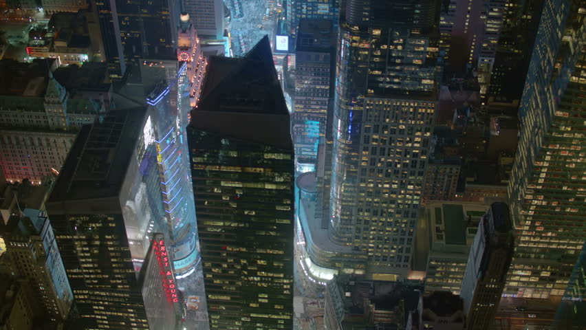 Aerial shot of New York at night