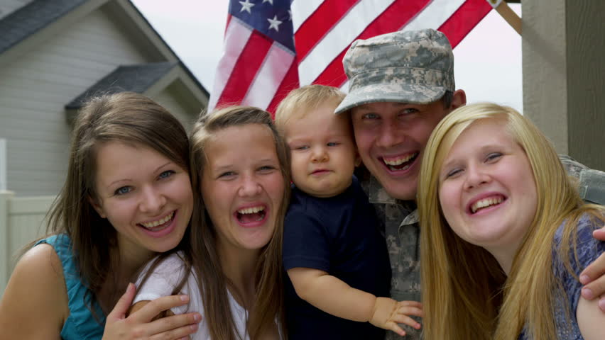 Portrait of American military family - HD stock footage clip