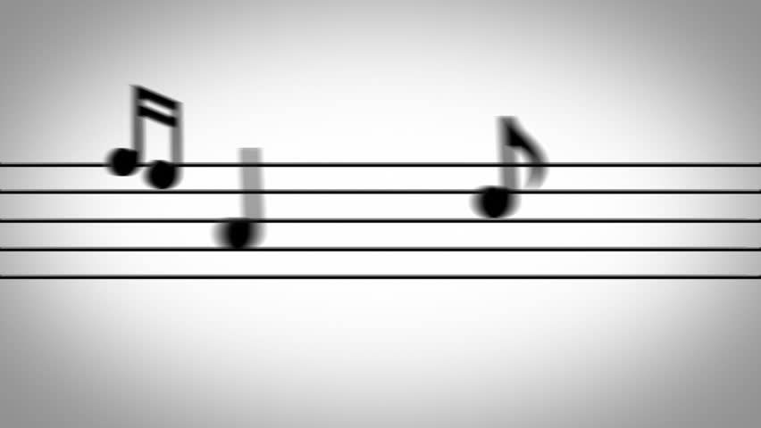 Musical notes jumping onto the staff lines on a white background. - HD stock video clip