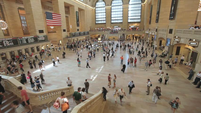 NEW YORK CITY - CIRCA JULY 2013 - Travelers bustle through Manhattan's vast, iconic Grand Central Station.