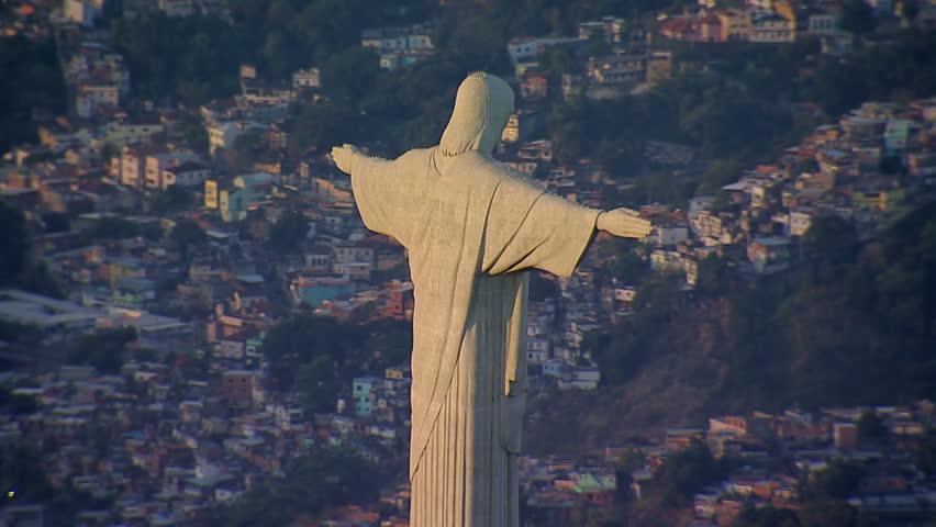 Aerial view of Christ the Redemeer Statue, Rio de Janeiro, Brazil