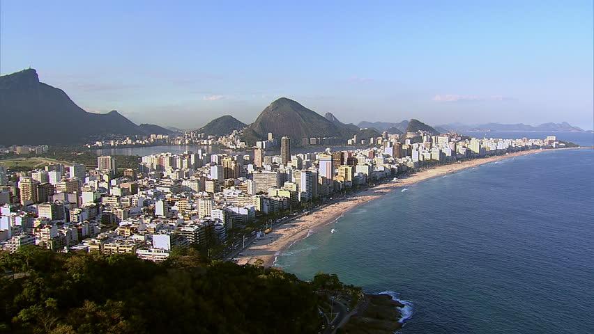 Flying towards Ipanema Beach Rio de Janeiro, Brazil