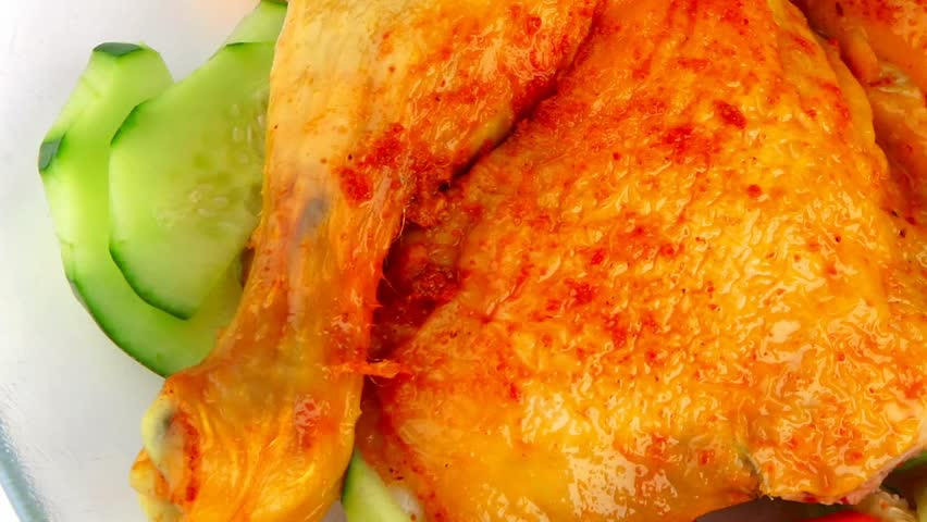 grilled chicken leg with vegetables 1920x1080 intro motion slow hidef hd